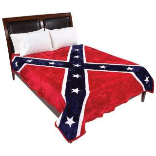 Rebel Flag Print Red White Blue Deluxe Plush Bed Blanket Fits Queen