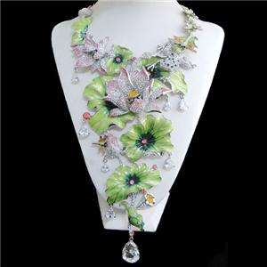 Water Lily Lotus Leaf Frog Crystal Dragonfly Drop Necklace Earring Set