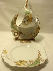 Melba England Cup, Saucer and Plate Trio White with Yellow Flowers