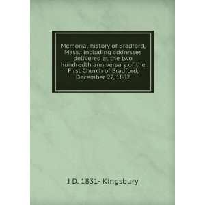 Church of Bradford, December 27, 1882: J D. 1831  Kingsbury: Books