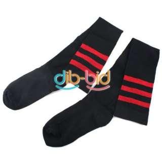 Girl Black Cotton Stripe Over knee High Socks Stockings New