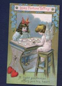 Old Valentine PC Cherub Fortune Teller Cards 1910