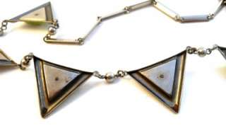 ART DECO Machine Age Chrome & Green Galalith Triangles Necklace