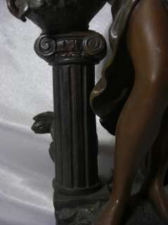 Moreau Spelter & Bronze Finish Sculpture  Nymphe Aux Roses