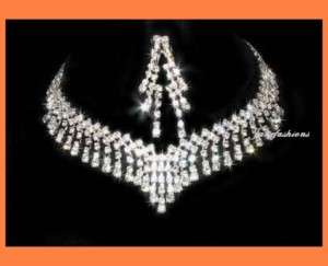 GLAMOUR CRYSTAL NECKLACE EARRINGS SET BRIDAL PARTY N117