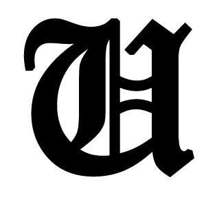 Old English Lettering Letter U White Decal: Automotive