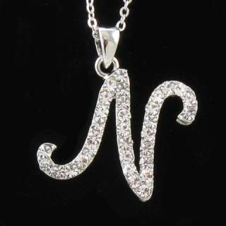 SILVER TONE INITIAL LETTER N CRYSTAL PENDANT NECKLACE N