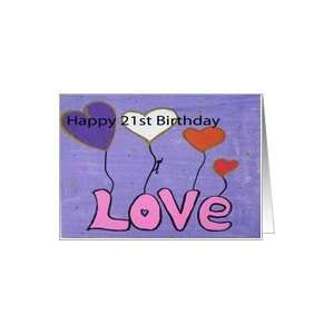 Painting  21st Birthday  Love heart Balloons Card: Toys