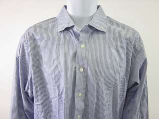 LEE BARON Blue White Stripe Button Down Shirt Top Sz XL