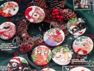 WOODLAND CHRISTMAS ORNAMENTS Animals Counted Cross Stitch Kit   Gillum