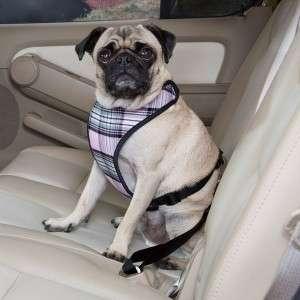 Classic Plaid Car Vest Harness Dog Seat Belt XS Pink