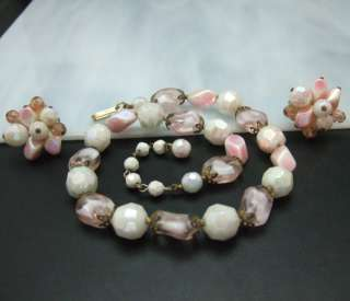 Trifari Pink Opalescent Purple Givre Glass Bead Necklace Earring Set