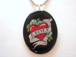 OLD SCHOOL BANNER TATTOO MOM PENDANT NECKLACE NEW!