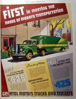 1930 Streamline GMC Trucks and Trailers print AD