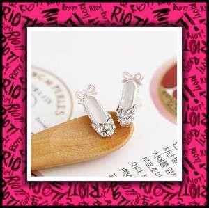 Cute Pink Bow Rhinestones Ballet Shoe Earring Earrings