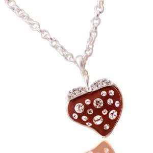Big Bling Red Strawberry Heart Necklace    22 Matte Silver Finished