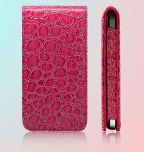 Pink LEATHER CASE CROCO Flip Hard COVER for IPHONE 4 4G