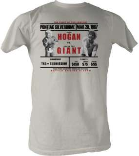 Giant Wrestlemania 3 Hulk Hogan Lightweight White T shirt New