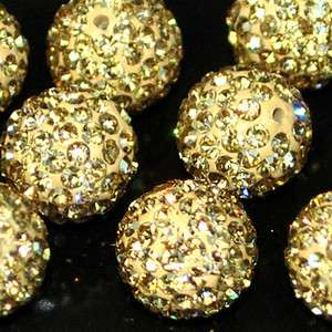 10mm Ball Pave Gold Cystal Rhinestone Loose Spacer Beads Jewelry DIY