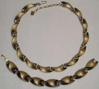 Trifari Wave Design Necklace & Bracelet, Gold Tone