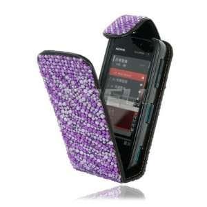 NEW PURPLE ZEBRA LEATHER BLING FLIP CASE FOR NOKIA 5800 Electronics