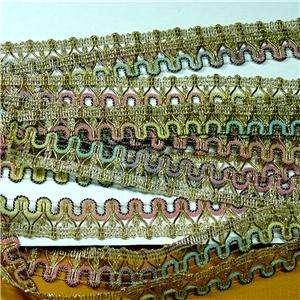 Metallic Gold & Shimmerring Pink Green Aqua Yellow Rainbow Fabric Trim