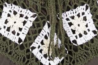 sk005t Hippy Hippie Boho Gypsy Crochet Skirt Long Green XS S M L