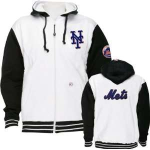 New York Mets (Black Sleeves) Full Zip Hooded Sweatshirt