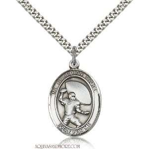 Guardian Angel Football Large Sterling Silver Medal