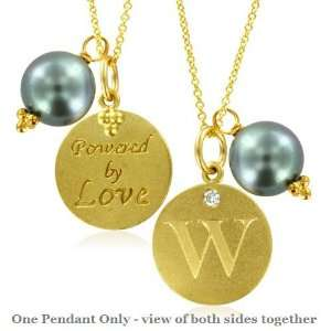 Natural Diamond Initial W, LOVE LETTERS Pendant Pearl Charm in 18k