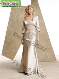 Mother of the Bride Dress Wedding Gown Satin Champagne Bridal Formal