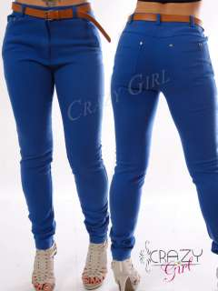 New Womens Ladies High Waist Colour Jeans Skinny Trousers Slim Fit