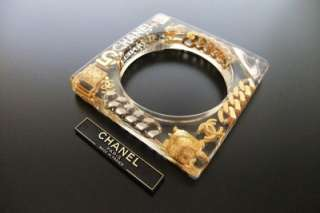 Authentic Chanel Vintage CC charm cuff bangle bracelet