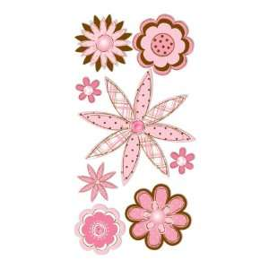 Dimensional Stickers Pink & Brown Sketch Flowers Arts