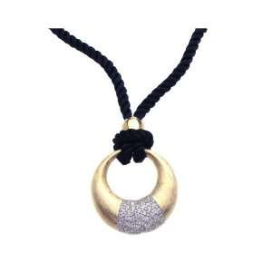 Nickel Free Silver Necklaces Gold Plated Oval With Cz On