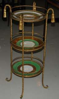 Unusual Hollywood Regency Gold Encrusted Plate Table NR
