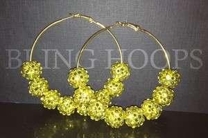 NEW Bling Hoops Rhinestone Earrings Basketball Wives FAST SHIPPING