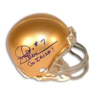 Autographed Joe Theismann Notre Dame Mini Helmet Inscribed