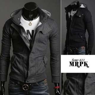 Korean Fashion Mens Slim Fit Cowl Collar Trendy Top Designed Hoody