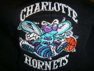 Black Charlotte Hornets NBA Buckle Back Flat Bill Cap