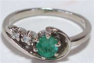 ESTATE 14K SOLID WHITE GOLD 0.58CT NATURAL EMERALD DIAMOND FINE RING