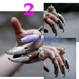 Gold/ Bright black Crystal Claw Paw Talon Finger Ring   S M L