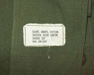 NICE OLD VTG 1960s VIETNAM WAR 15.5 X 31 US ARMY SATEEN MILITARY