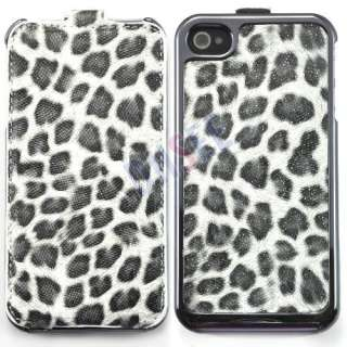 Deluxe White Leopard Flip Leather Chrome Case for iPhone 4 4S