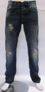 Star Jeans Morris Tapered Rugby Destroy Deep Indigo Denim Blue Men $