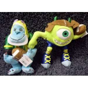 Monsters. Inc Pair of Football Super Stars 7 Inch Plush Mike Wazowski