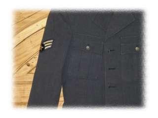 Vintage 1940s Virgin Wool Air Force Blue Coat Jacket