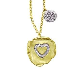 Meira T Organic 14K Yellow Gold Pave Set Diamond Heart Charm accented