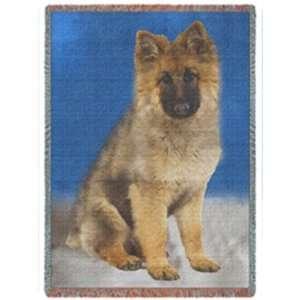 German Shepherd Puppy Woven Throw Blanket 50 x 60