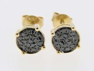 10K YELLOW GOLD BLACK DIAMOND STUD ROUND PRONG EARRINGS